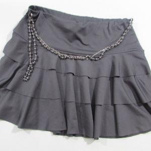 Hot Kiss Skirts - Gray Layered Mini Skirt with Chain